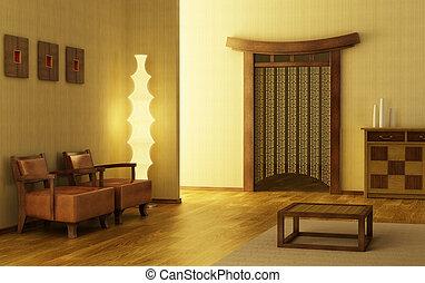 salotto, stile, stanza, cinese