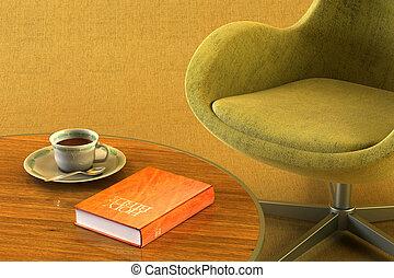 salotto, tavola, bibbia, stanza