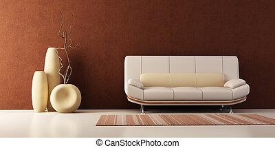 salotto, vasi, stanza, divano