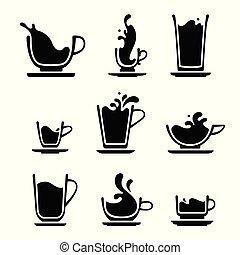 salpicadura, copa té, o, café