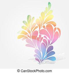 salpicadura, de, floral, y, ornamental, gotas, fondo.