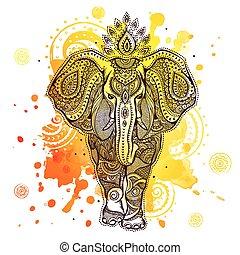 salpicadura, elefante, ilustración, acuarela, vector