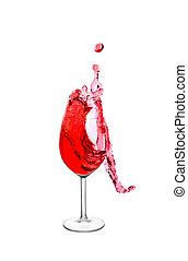 salpicadura, en, un, vino rojo, vidrio