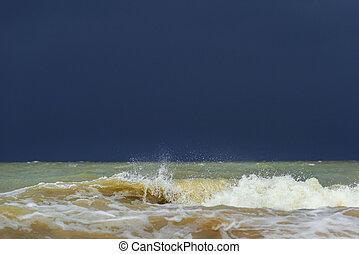 salpicadura, mar, onda