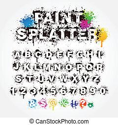 salpicadura, pintura, números, alfabeto