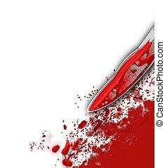 salpicadura, sangre, cuchillo, sangriento