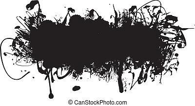 salpicadura, tinta negra