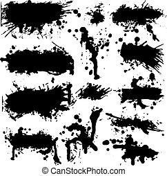 salpicadura, vector, grunge, colección, tinta
