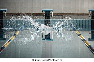 salpicaduras, natación, nadadores, piscina, salto, después