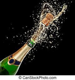 salpicar, aislado, champaña, tema, fondo negro, celebración
