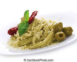 salsa, aceitunas, pastas, secado, parmesano, albahaca, tomate, pesto, queso, italiano