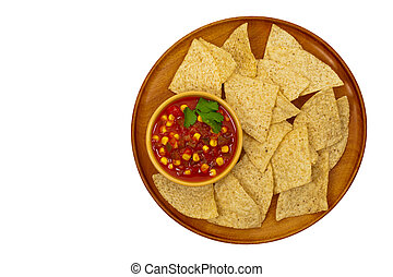 Salsa and tortilla chips - Chunky Salsa with Corn Isolated ...