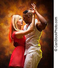 salsa, bailes, caribe, pareja, joven