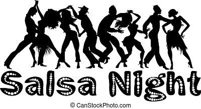 salsa, bannière, nuit