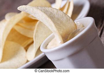 salsa, bianco, patatine fritte, patata