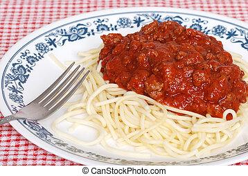 salsa, cima, spaghetti, carne, vista