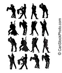 salsa, couple, danseur, silhouettes, tango