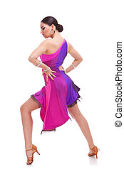 salsa dancer with hands on hips - full length picture of a...