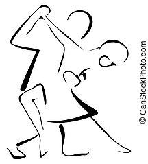Salsa dancers - Illustration of couple performing salsa...