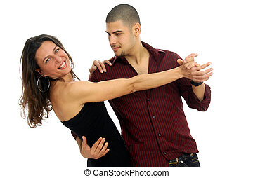 Salsa dancers - Half body view of couple in dance position,...