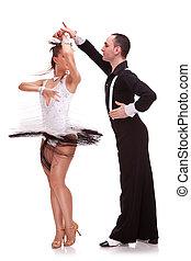 salsa dancing couple on white background. energic couple...