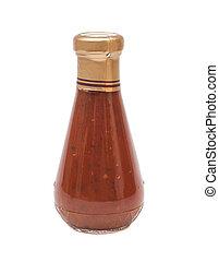 salsa de tomate, botella, blanco, plano de fondo