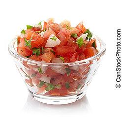 Salsa dip - Bowl of fresh salsa dip isolated on white ...