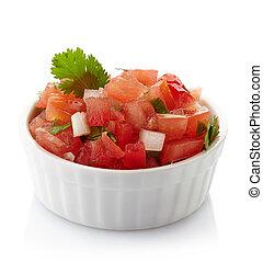 Salsa dip - Bowl of fresh salsa dip isolated on white...