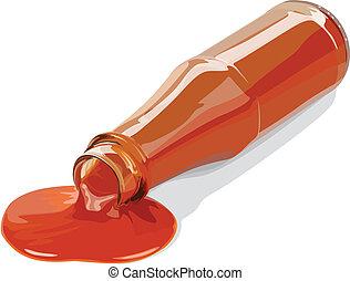 salsa, e, bottiglia