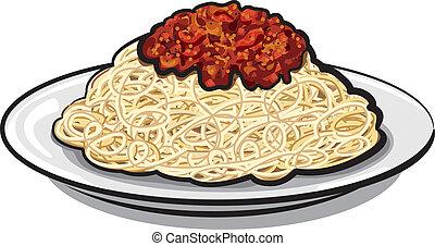 salsa, espaguetis