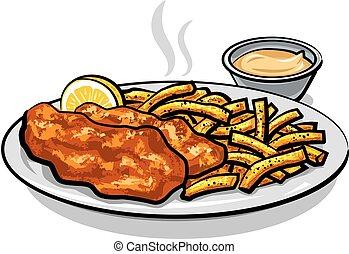 salsa, fish, patatine fritte