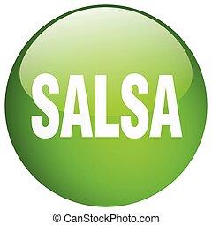 salsa green round gel isolated push button