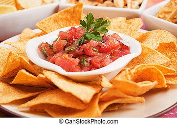 salsa, maíz astilla, nachos, casero