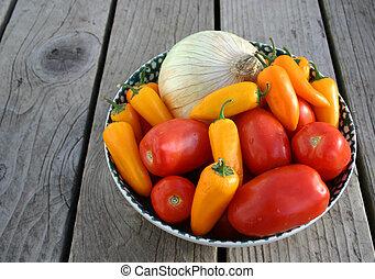 Salsa Makin\\\'s - Salsa Ingredients On Rustic Table