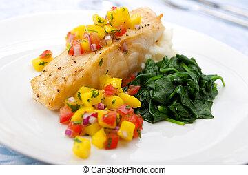 salsa, mango, bajo, mar