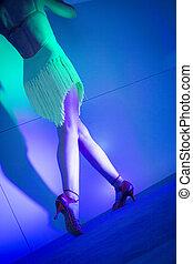 salsa, mulher, pernas, dançar