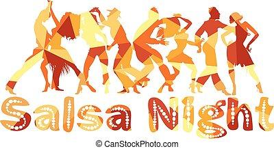 Salsa night banner - Salsa nigh polygonal vector silhouette...