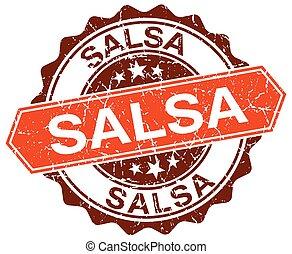 salsa orange round grunge stamp on white