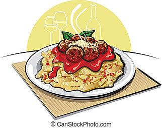 salsa pasta, polpette carne