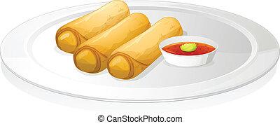 salsa, rotolo, bread