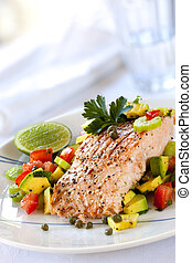 salsa, salmon, avocado