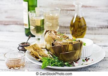 salsa, senape, prezzemolo, carciofi, cotto, aglio, cotto