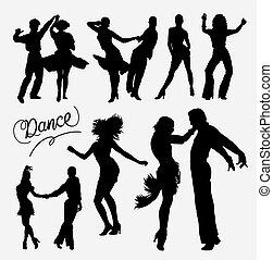 salsa, silhouette, tango