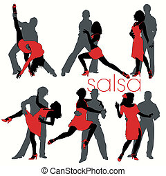 salsa, silhouettes, dansers, set
