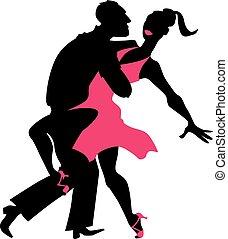 salsa, silueta, bailarines