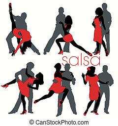 salsa, siluetas, bailarines, conjunto