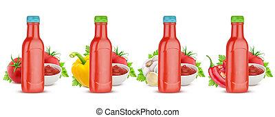 salsa tomate tomate, botella, aislado, blanco, plano de fondo