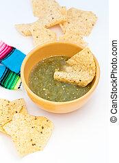 Salsa Verde with tortilla chips