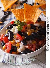 salsa, verticaal, koren, bonen, nachos, afsluiten, frites, mexicaanse , boven.