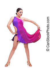 salsa woman dancer holds her dress